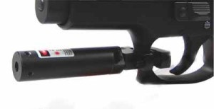 This photo shows how the laser attaches to the trigger guard, but note, the pictured laser in this photo is NOT the Aim Sports laser.
