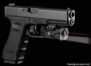 The Rail Master Pro Universal with the red laser and mounted on a Glock.